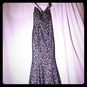 Metallic Silver Sequins Dark Blue Prom Dress